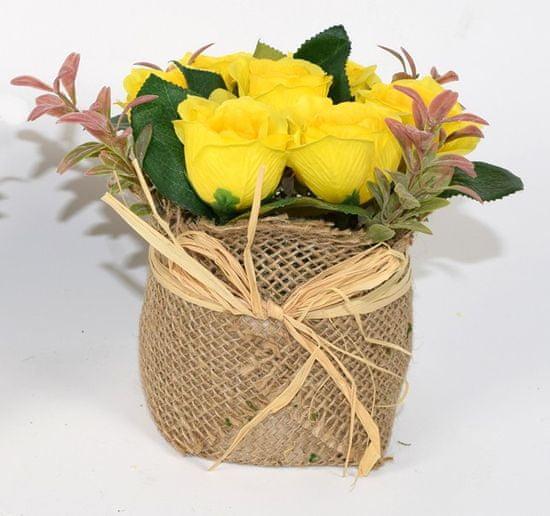 DUE ESSE Žluté růže v květináči z juty, 15 cm