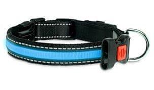Karlie LED nylonový obojek modrý s USB nabíjením, 66 cm