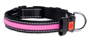 Karlie LED nylonový obojek růžový s USB nabíjením, 66 cm