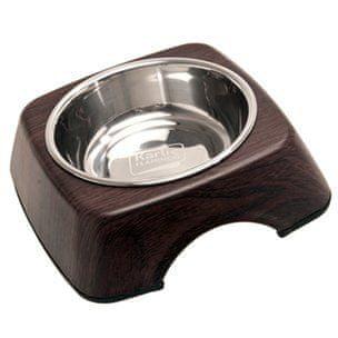 Karlie miska dla psa, stal nierdzewna, w stojaku drewnianym
