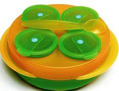DBB Remond Baby Snack, zestaw 4 misek, talerz, łyżka pomarańczowy