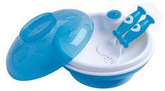 DBB Remond Głęboki talerz dla dzieci z pokrywką i łyżką z widelcem niebieski