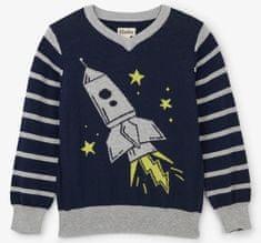 Hatley fantovski pulover z raketo, sivo-moder, 98