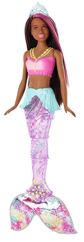 Mattel Barbie Svítící mořská panna s pohyblivým ocasem - černoška