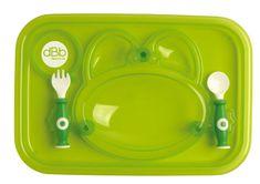DBB Remond taca na posiłki z łyżką i widelcem zielona