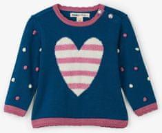 Hatley dekliški pulover s srčkom, roza-moder, 62 – 68