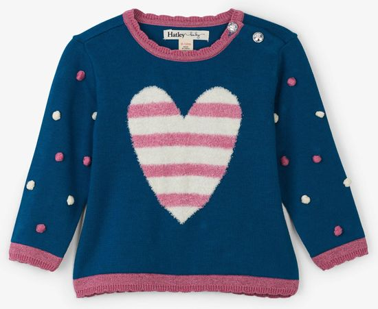 Hatley dekliški pulover s srčkom