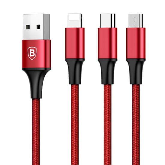 BASEUS kabel BASEUS 3v1, USB Rapid, rdeč