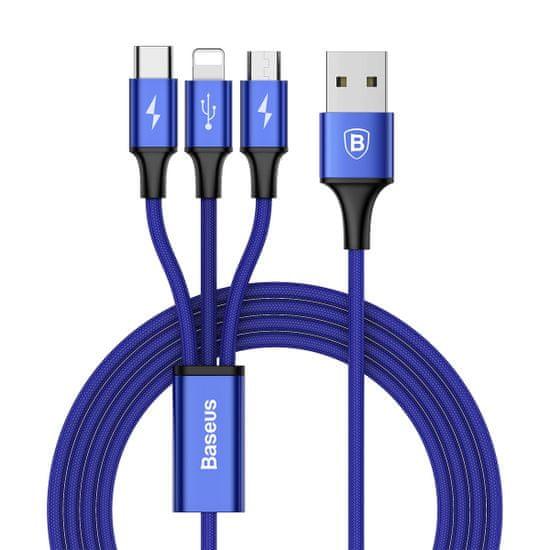 BASEUS Rapid 3u1 kabel za napajanje za Micro USB, Lightning, Type-C 3A / 1.2m, tamno plavi CAMLT-SU13