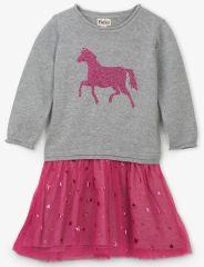 Hatley haljina za djevojčice s konjem, rozo-siva, 110