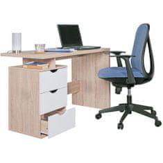 Bruxxi Písací stôl so zásuvkami Samo, 120 cm, Sonoma dub/biela