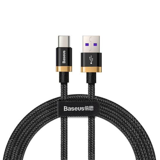 BASEUS Super Charge rychlonabíjecí kabel Type-C 40W/QC3.0/2m, zlato-černá CATZH-BV1