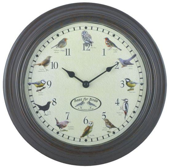 Esschert Design hodiny s ptačím zpěvem Ø 29