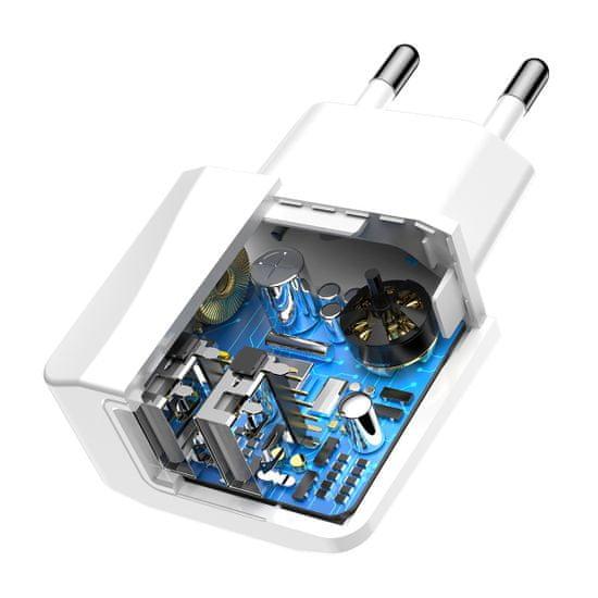BASEUS Mini duális hálózati EU töltő/adapter telefonhoz 2.1A, fehér CCALL-MN02