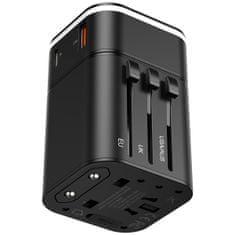 BASEUS Wyjmowana ładowarka sieciowa 2w1 i adapter podróżny (UE, UK, AUS, USA) USB-C 18W / QC3.0 / 3A, czarny TZPPS-01