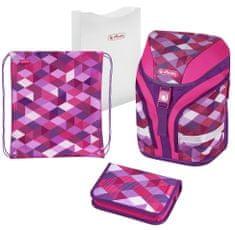 Herlitz Motion rózsaszín kockás iskola táska - felszerelt