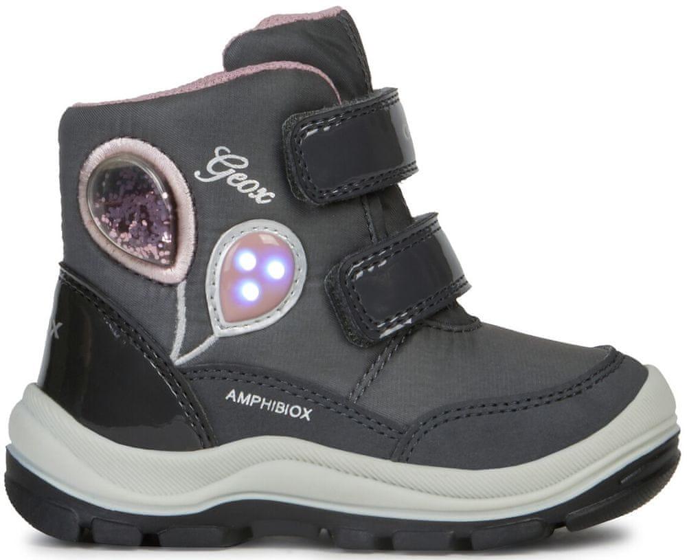 Geox dívčí svítící zimní boty Flanfil 21 šedá