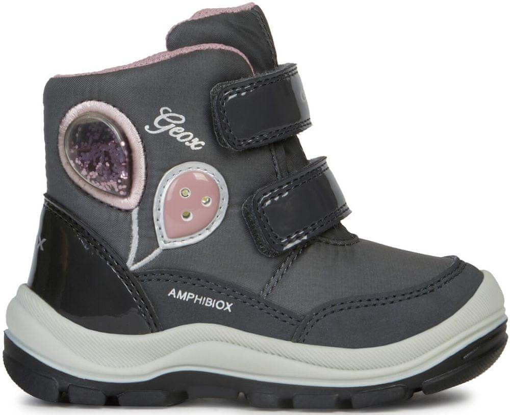 Geox dívčí svítící zimní boty Flanfil 22 šedá