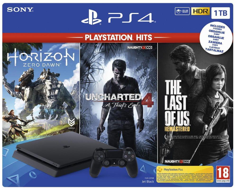Sony PlayStation 4 Slim - 1TB + Horizon: Zero Dawn + Uncharted 4 + The Last of Us