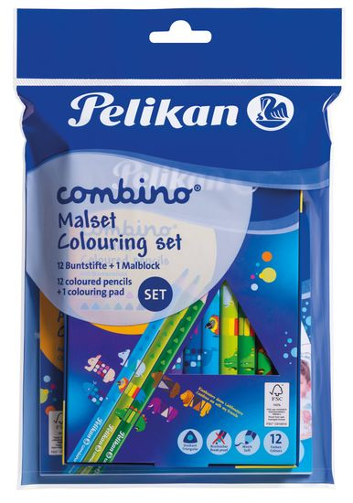 Pelikan Set Combino pobarvanka + 12 barvic