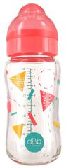 DBB Remond Cumisüveg Geometria, 240 ml, szilikon cső, 0-4M rózsaszín