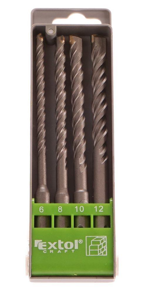Extol Craft Vrtáky SDS PLUS příklepové do betonu, sada 4ks, Ř6-8-10-12x160mm, SK