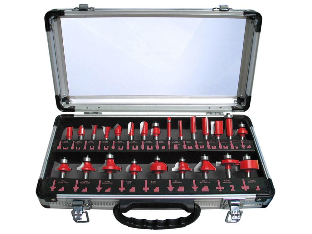 Extol Premium Frézy tvarové do dřeva s SK plátky, sada 24ks, stopka 8mm, v kovovém k., SK