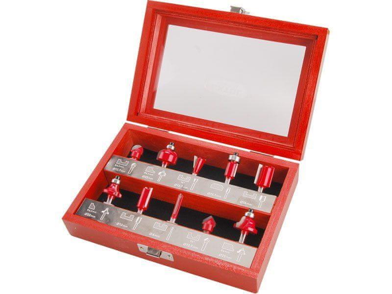 Extol Premium Frézy tvarové do dřeva s SK plátky, sada 10ks, stopka 6mm, v dřevěné kazetě