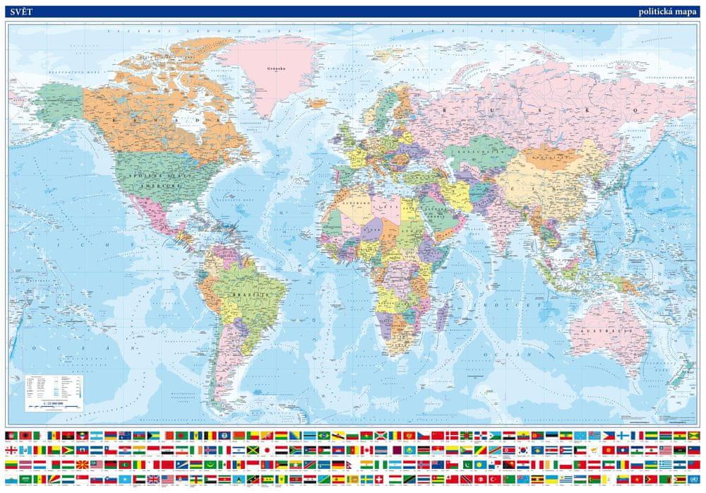 Svět - nástěnná politická mapa 134 x 95 cm - česky - laminovaná mapa v lištách