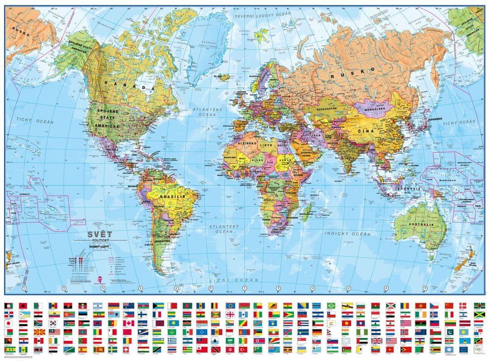 Svět - nástěnná politická mapa 100 x 73 cm - česky - laminovaná mapa v lištách