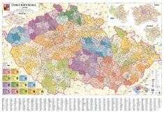 Excart Česká republika - nástěnná administrativní mapa 200 x 140 cm - laminovaná mapa v lištách