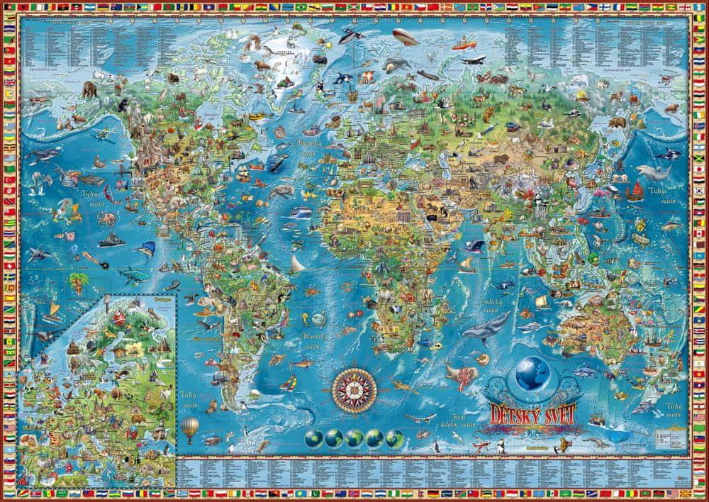 Dětská mapa světa - nástěnná mapa 138 x 98 cm - laminovaná mapa v lištách