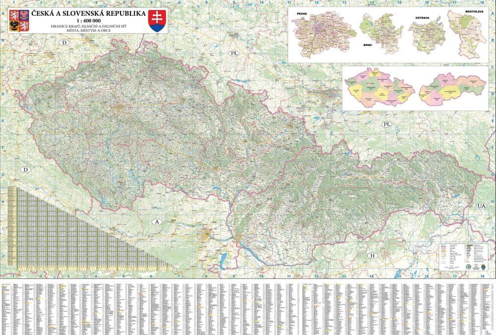 Království map Česká a Slovenská republika - nástěnná automapa 200 x 140 cm - papírová mapa