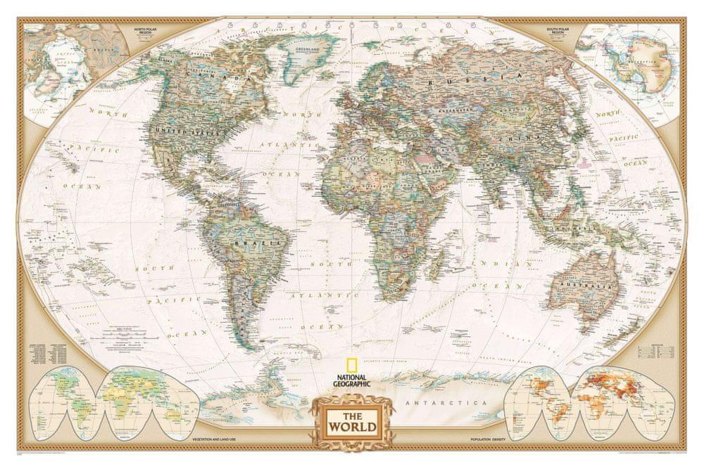 Svět - nástěnná mapa Executive 188 x 122 cm - laminovaná mapa v lištách