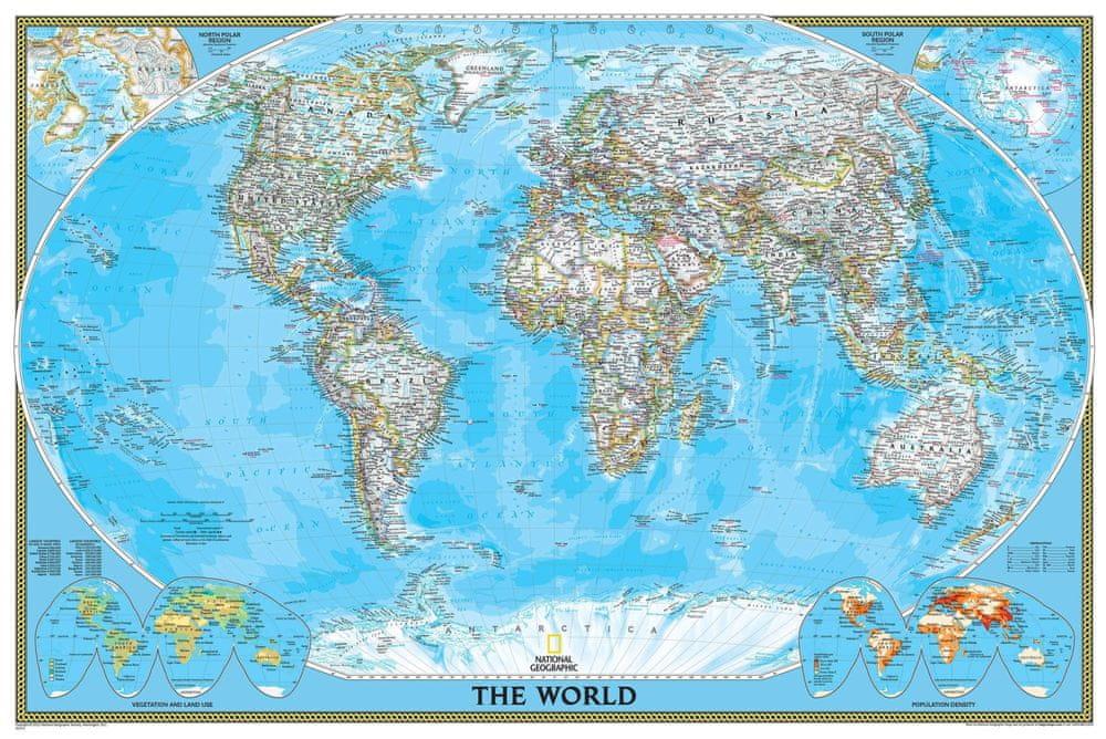 Svět - nástěnná mapa Classic 175 x 122 cm - magnetická mapa v hliníkovém rámu