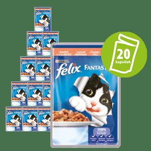 Felix Fantastic vrečka za mačke, losos v želeju, 20 x 100 g