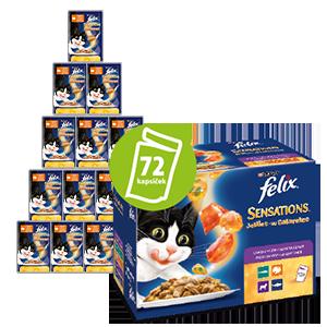 Felix Sensation hrana za mačke, vrečke v okusnem želeju z jagnjetino, skušo, slanikom in puranom, 6x (12x 100 g)