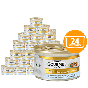 Gourmet Gold Double Pleasure s morskými rybami so špenátom 24 x 85 g