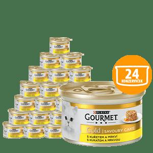Gourmet Gold Savoury Cake S kuraťom a mrkvou 24 x 85g