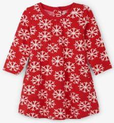 Hatley dekliška obleka s snežinkami, 68/74, rdeča