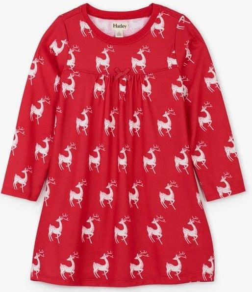 Hatley dívčí noční košile se srnkami 92 červená