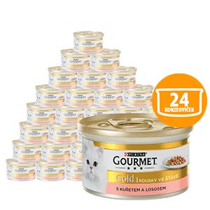 Gourmet mokra karma dla kota Gold z łososiem i kurczakiem 24 x 85 g