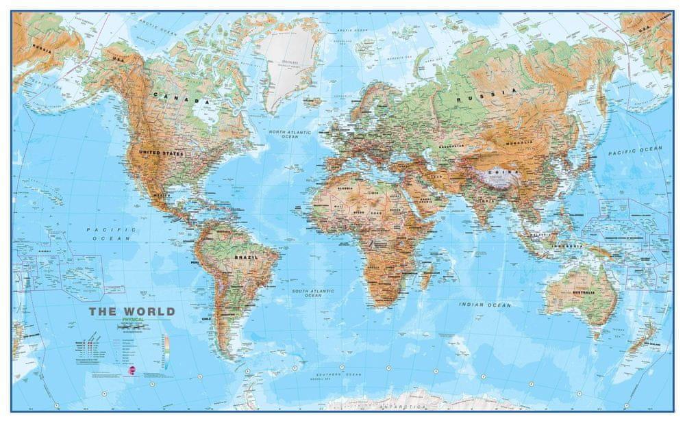 Svět - nástěnná zeměpisná mapa 195 x 120 cm - magnetická mapa v hliníkovém rámu