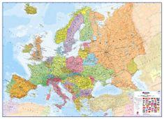 Maps International Evropa - nástěnná politická mapa 170 x 124 cm - papírová mapa