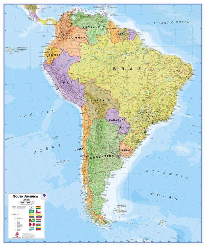 Jižní Amerika - nástěnná politická mapa 100 x 120 cm - papírová mapa