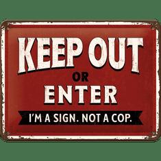 Postershop Plechová cedule Keep Out or Enter (15 × 20 cm)