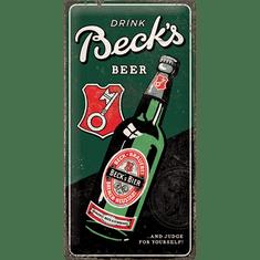 Postershop Plechová cedule Beck's (Drink Beer Bottle), 50 × 25 cm - rozbaleno