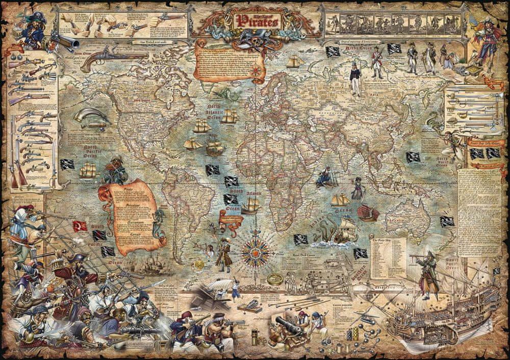 Svět - nástěnná ilustrovaná mapa Piráti 120 x 85 cm - laminovaná mapa v lištách
