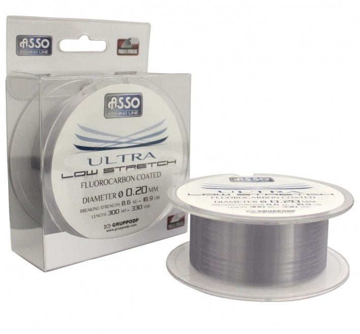 Asso Vlasec Ultra Low Stretch 300 m Čirá 0,26 mm, 10,2 kg