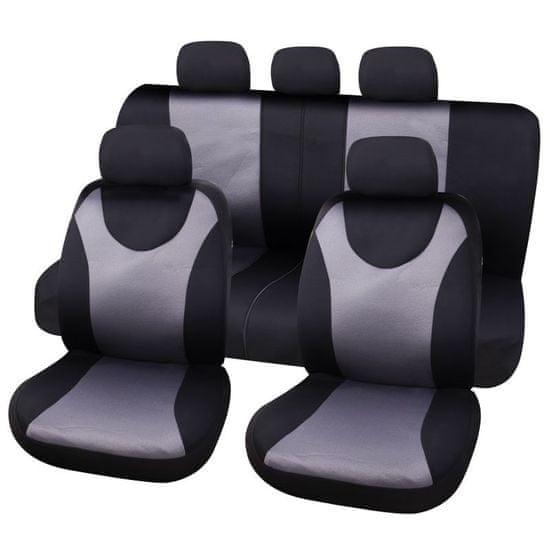 CarPoint presvlaka za sjedalo London, 9-dijelna, crno-siva
